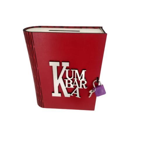 Kitap Görünümlü Dekoratif Asma Kilitli Kumbara - Kırmızı