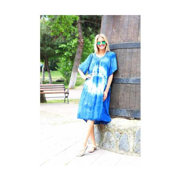 Patiska Kadın Yarım Kollu Danteli Yuvarlak Desenli Batik Elbise 4127