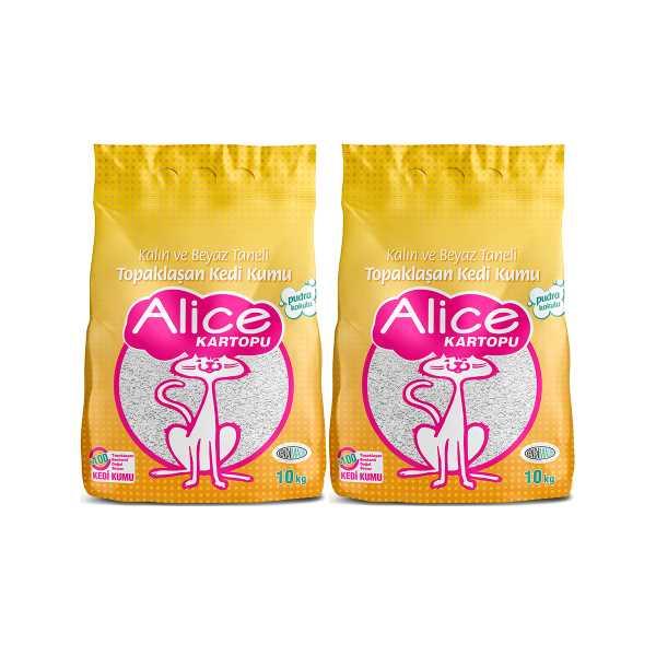 Alice Kartopu Kalın ve Beyaz Taneli Pudra Kokulu Kedi Kumu 2x10 kg (23 Lt)