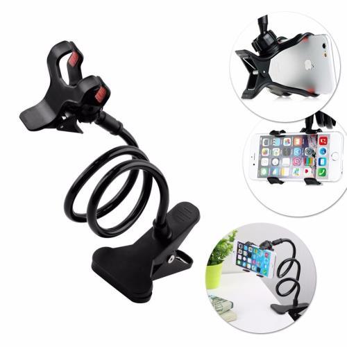 Akrobat Telefon Tutucu Spiral Gövdeli Oynar Başlıklı - Siyah