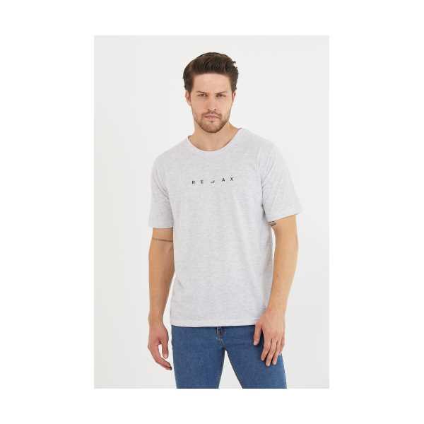 Erkek Açık Gri Relax Baskılı Slim Fit T-Shirt