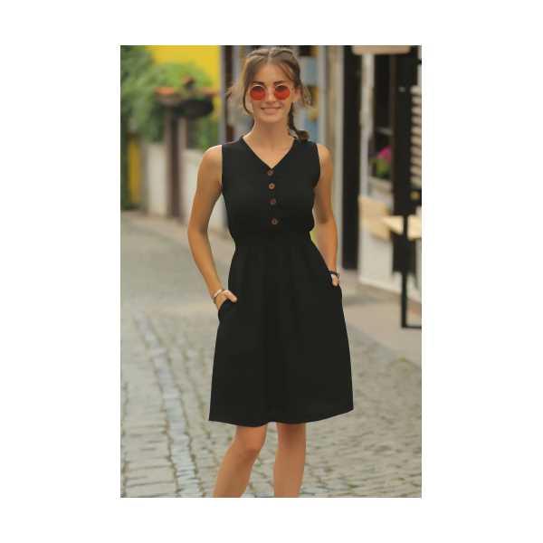 armonika Kadın Siyah Beli Lastikli Üstü Düğmeli Elbise