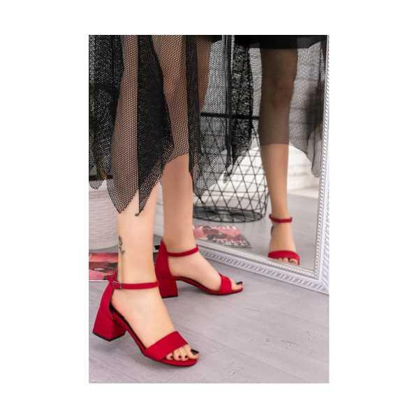 Senti Kırmız Süet Tek Bant Topuklu Ayakkabı