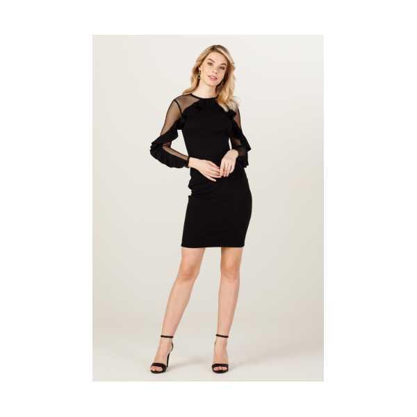 CLASS GİYİM Ekol Kolları Tül Ve Fırfır Detaylı Elbise