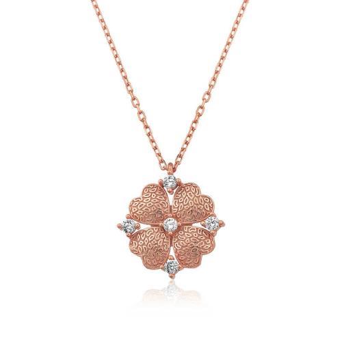 Midyatziv Gümüş Kalp Yapraklı Çiçek Kolye midyatziv