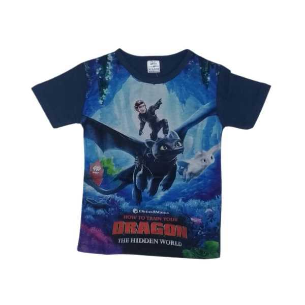 Erkek Çocuk Lacivert Dragon Digital Baskılı Kısa Kollu Tişört ÇET-DR