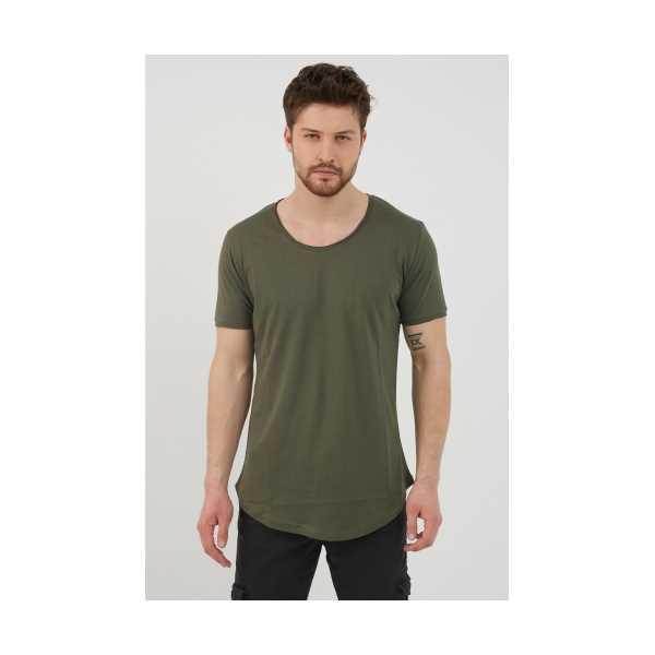 Tarz Cool Erkek Koyu Haki Pis Yaka Salaş T-shirt
