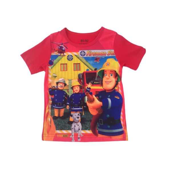 Erkek Çocuk İtfaiyeci Sam Kırmızı Renk Tişört ÇET-İTS