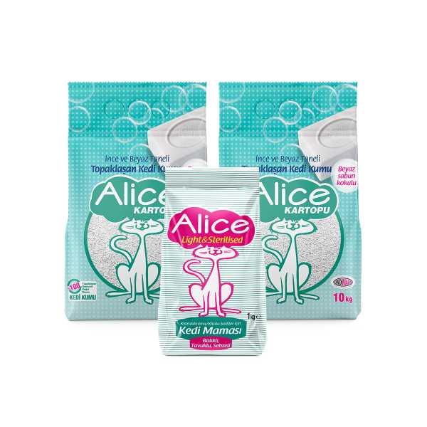 Alice Kartopu İnce Taneli Kedi Kumu/Beyaz Sabun Kokulu 2x10kg (23 Lt) Kısır Kedi Maması Hediyeli