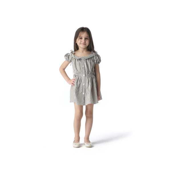Tülü Akkoç Haki Yeşil Çizgili Karpuz Kollu Yazlık Elbise TAK21E121D