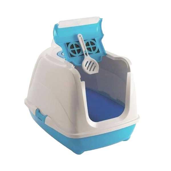 Moderna Flip Cat Kolay Açılır Filtreli Dekoratif Kapalı Kedi Tuvaleti Mavi 50x39x37 cm
