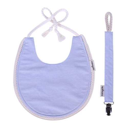Blue Flow Mama Önlüğü ve Emzik Askısı Seti - Örgü Şeritli