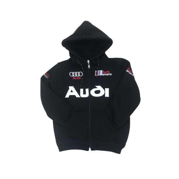 Erkek Çocuk Audi Otomobil Logo Baskı Siyah Kapüşonlu Fermuarlı Cepli İçi Tüylü Sweat Ceket ÇCFK-AUD