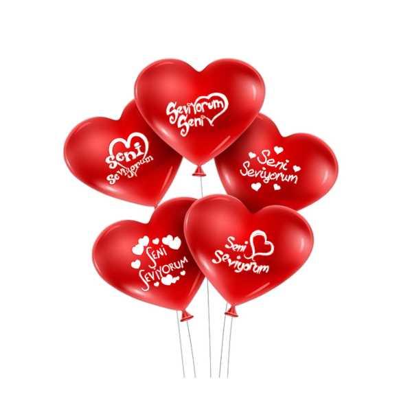 Seni Seviyorum Yazılı 50 li Kalp Balon