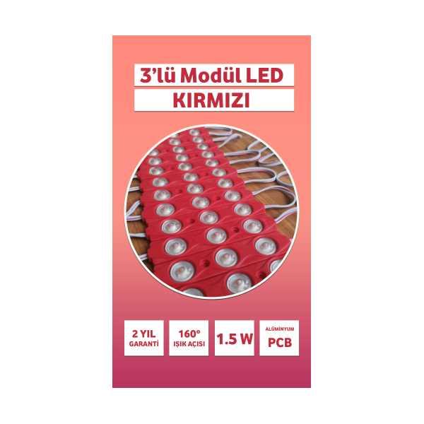 3'LÜ MODÜL LED - KIRMIZI - MERCEKLİ - 3LÜ MODÜL LED - 20 Adet