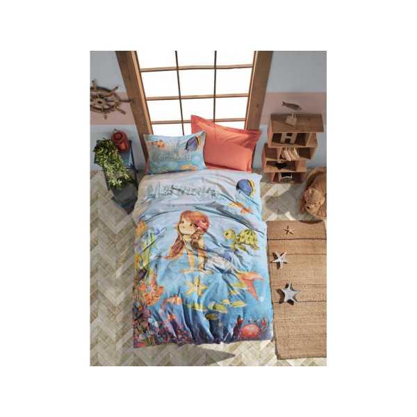 Cottonbox Junior Tek Kişilik Nevresim Takımı Mermaid Mercan