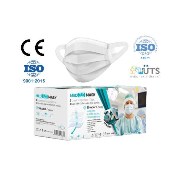Elastik Kulakçıklı 3 Katlı Yeni Nesil Meltblown Maske-MED3.0 MASK