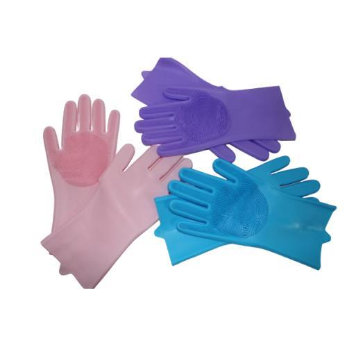 Sıcak suya dayanıklı silikon içi fırçalı Temizlik eldiveni