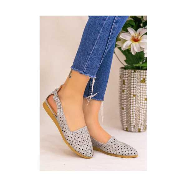 Epile Gümüş Cilt Fileli Babet Ayakkabı