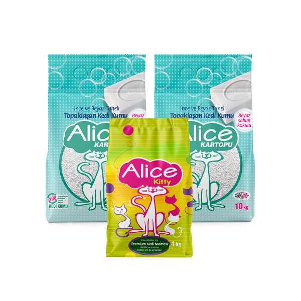 Alice Kartopu İnce Taneli Kedi Kumu/Beyaz Sabun Kokulu 2x10kg (23 Lt) Yavru Kedi Maması Hediyeli